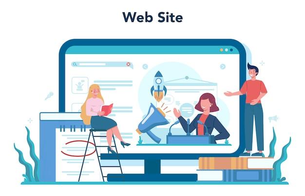 Retoriek of spraakspecialist online service of platform