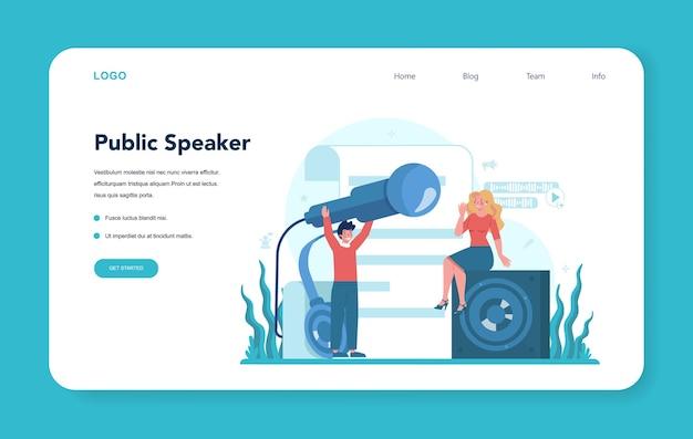 Retoriek of spraakspecialist webbanner of bestemmingspagina