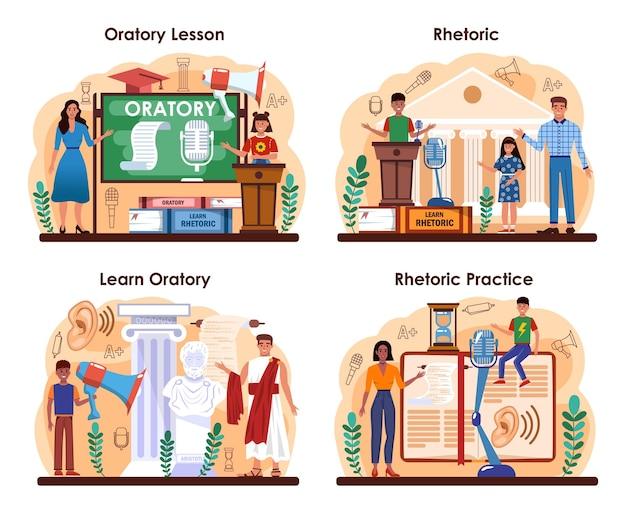 Retoriek school klasse set. studenten trainen spreken in het openbaar en debatten.