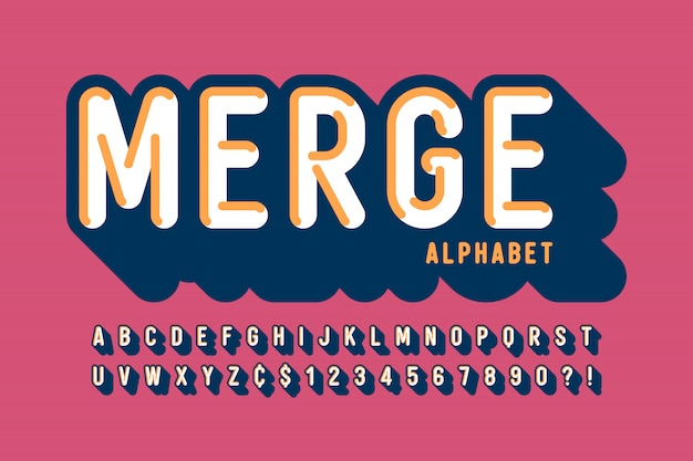 Retro 3d display lettertype, alfabet, letters en cijfers