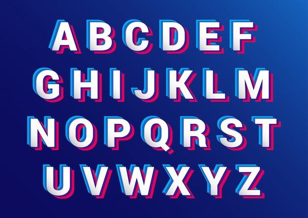 Retro 3d-effect alfabetten ingesteld