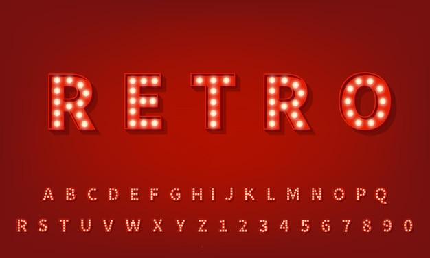Retro 3d typografie lettertype. 3d-gloeilamp alfabet