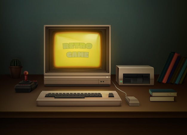Retro 80s realistische grijze computer op de kantoortafel