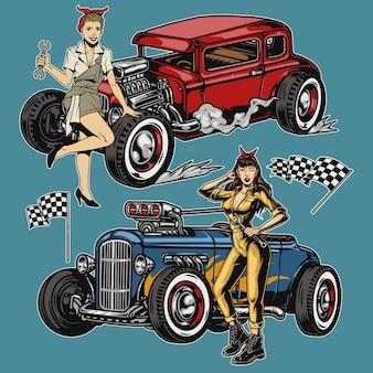 Retro aangepaste auto's met race-geblokte vlaggen en mooie meisjes in mechanische uniformen geïsoleerd
