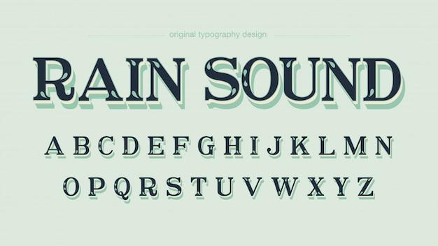 Retro aangepaste bladeren vet schaduw typografie