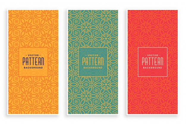 Retro abstract floral patroon banners instellen