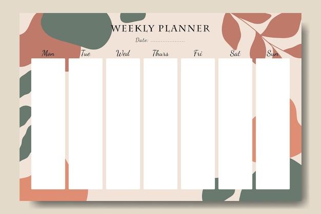 Retro abstracte vorm en blad wekelijkse planner sjabloon afdrukbaar