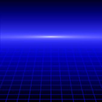 Retro achtergrond met perspectief raster. vector illustratie