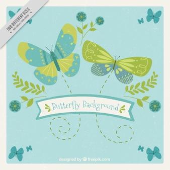 Retro achtergrond van groene en blauwe vlinders