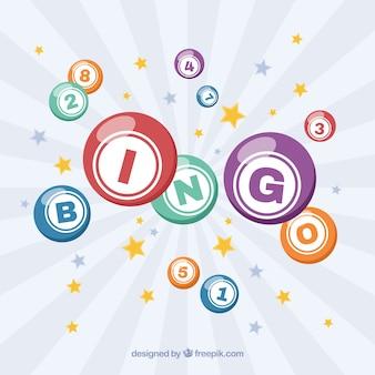 Retro achtergrond van sterren en bingo ballen