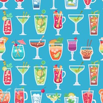 Retro alcoholische fruitcocktails naadloos patroon