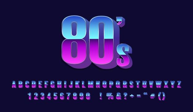 Retro alfabet lettertype met metallic effect