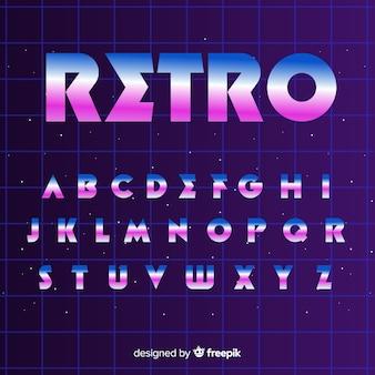 Retro alfabet sjabloon platte ontwerp