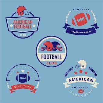 Retro amerikaanse voetbal badge collectie