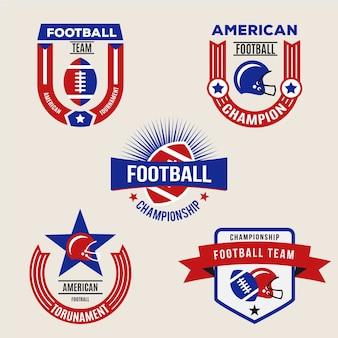 Retro amerikaanse voetbal badge set