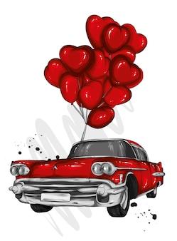 Retro auto en ballonsharten