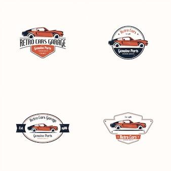 Retro auto logo set. klassiek voertuig