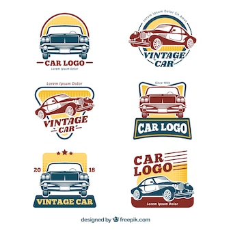 Retro auto logo set