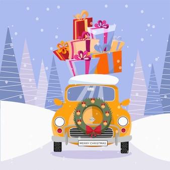 Retro auto met cadeautjes en kerstboom op de top