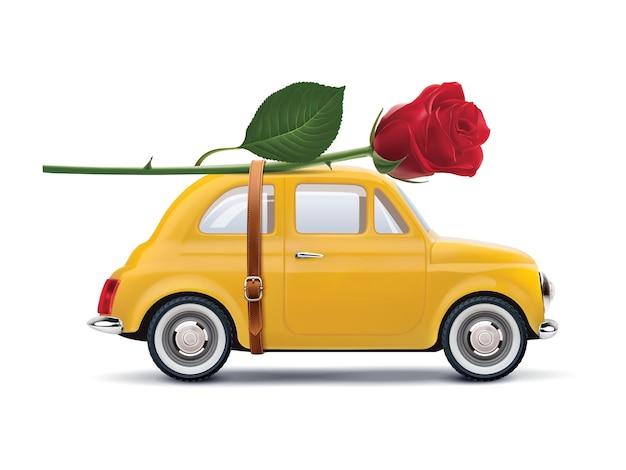 Retro auto met rode roos geïsoleerd op wit. realistische illustratie