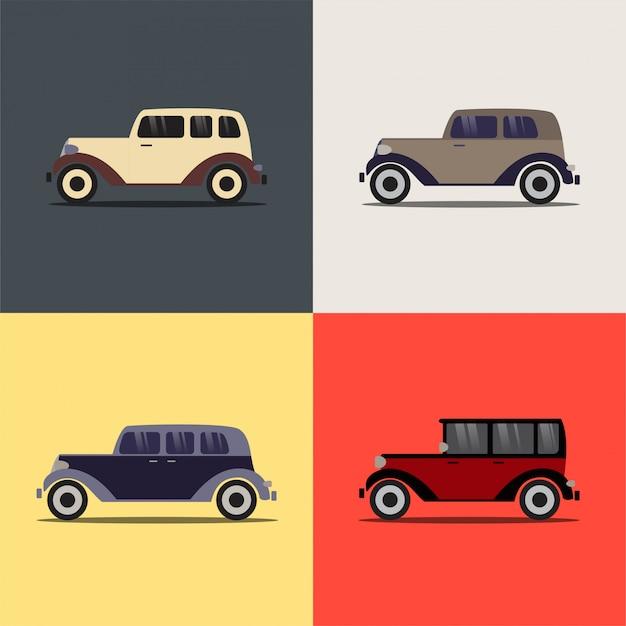 Retro auto's op de achtergrond.