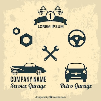 Retro auto-service vector set