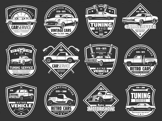 Retro auto, vintage auto voertuig, motor reserveonderdeel