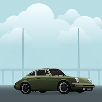 Retro auto. vintage klassieke auto. blauwe sportwagen.