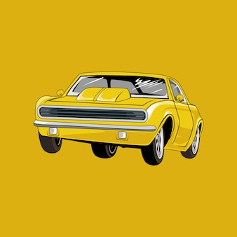 , retro autoillustratie, oude sedanauto
