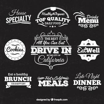 Retro badges in schoolbord stijl voor restaurant