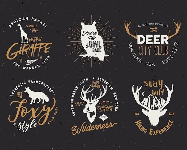 Retro badges ingesteld met wilde dieren