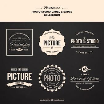 Retro badges voor fotografie topics
