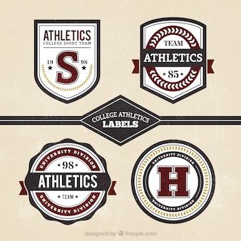 Retro badges voor het college sport