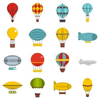 Retro ballonnen vliegtuigen pictogrammen instellen in vlakke stijl