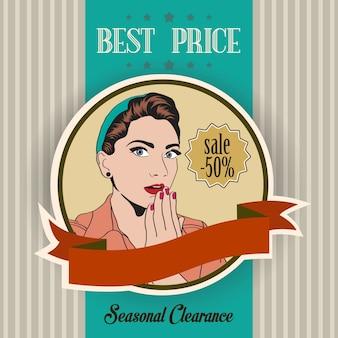 Retro banner van een mooie vrouw en beste prijs bericht