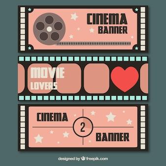Retro banners met film elementen