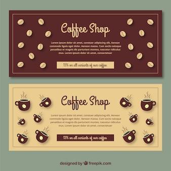 Retro banners met koffiebonen en mokken