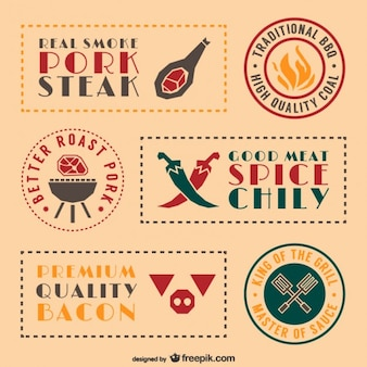 Retro barbecue eten stickers en labels set
