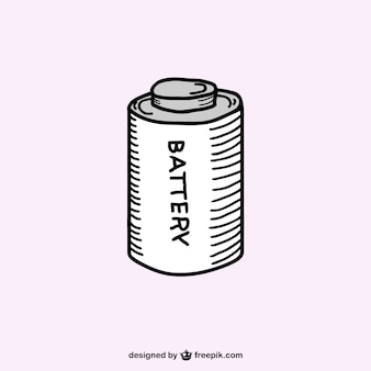 Retro batterij schets vector