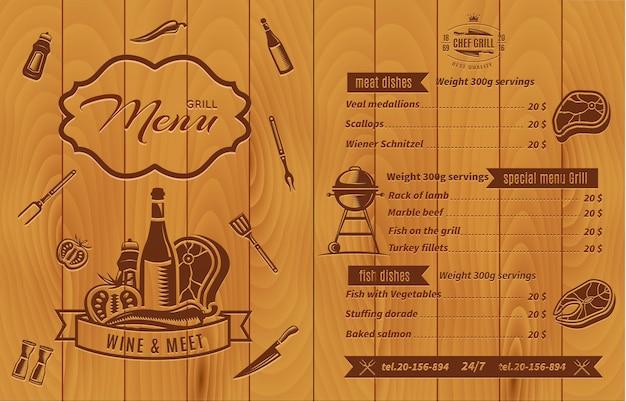 Retro bbq-menu met prijzen en eten met foto's op houten muur