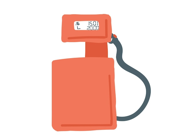 Retro benzine pomp tankstation rode kleur hand getekende cartoon stijl doodle enkel element