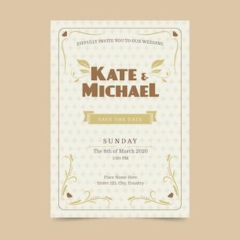 Retro bewaar de datum bruiloft uitnodiging sjabloon