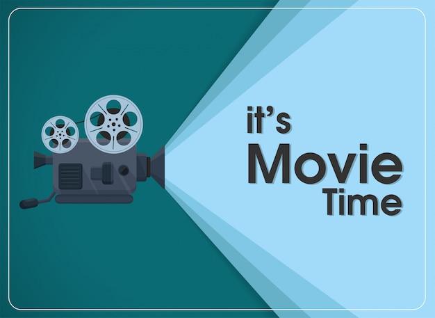 Retro bewegende filmprojector met tekst het is filmtijd.