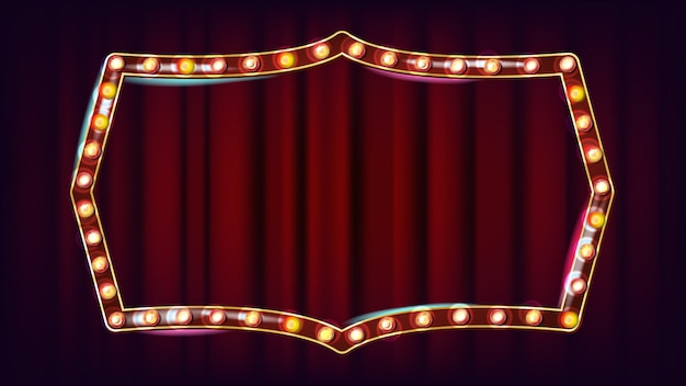 Retro billboard vector. lichtend licht bord. 3d elektrisch gloeiend element. vintage gouden verlichte neonlicht. carnaval, circus, casinostijl. illustratie