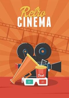 Retro bioscoop. kan worden gebruikt voor de achtergrond van flyers, posters, banners, advertenties en websites