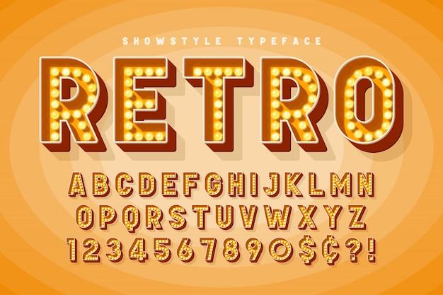 Retro bioscoop lettertype ontwerp, cabaret en broadway letters