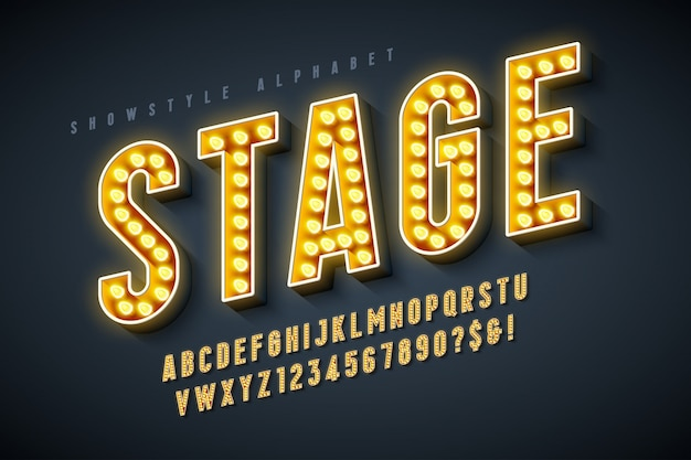 Retro bioscoop lettertype ontwerp, cabaret, led-lampen letters