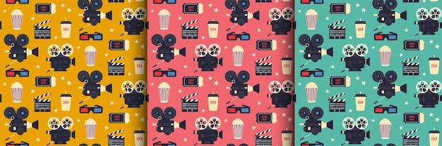 Retro bioscoop naadloze patroon set