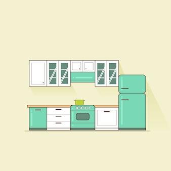 Retro blauwgroen en witte keuken interieur platte vectorillustratie