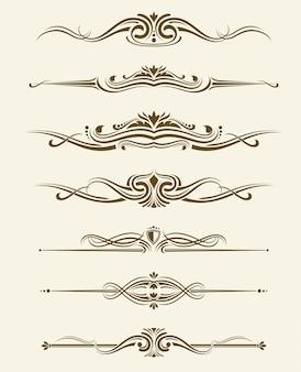 Retro bloeit pagina scheidingslijnen, decoratieve ornament randen. calli-elementen